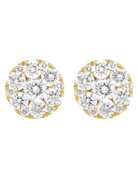 10K Yellow Gold Real Diamond Flower Studs Earrings 2 CT 9MM