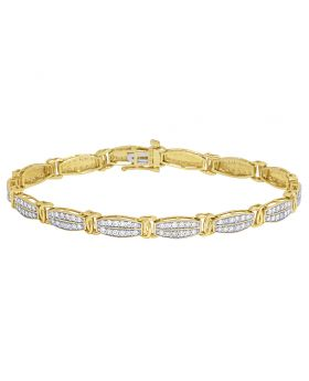 Ladies Real Diamond 10K Yellow Gold Rectangle Link Bracelet 2CT 5MM 8""