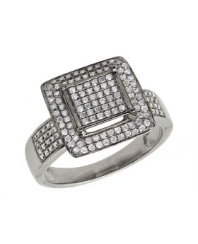 10K White Gold Square Frame Diamond Statement Ring 0.51ct 12mm