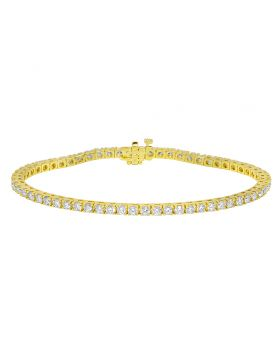 "Yellow Gold Tennis 10 Pointer Diamond Bracelet 8"" 6.2 Ct"