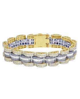 14K Two Tone Baguette Presidential Style Bracelet 17MM 21.38 CT