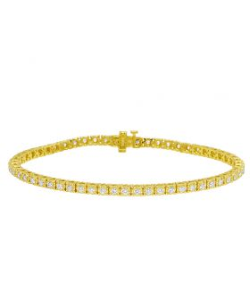 "Yellow Gold Tennis 3 Pointer Illusion Set Diamond Bracelet 8"" 1.62Ct"