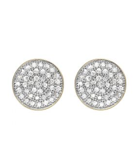 10K Yellow Gold Round Disc Diamond Stud Earrings 0.60ct.