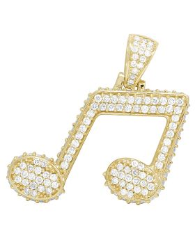 Mens 10K Yellow Gold Iced Music Note Emoji Diamond Pendant 3CT