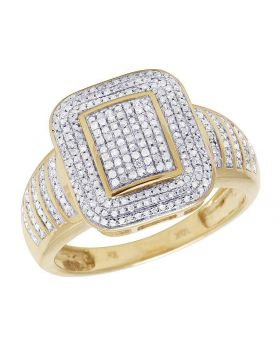 Men's 10K Yellow Gold Diamond Iced Square Pinky Ring 0.50 Ct 16MM