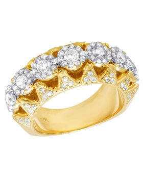 14K Yellow Gold 3D Diamond Cluster Band 2 Ct 10MM