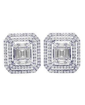 14K White Gold Baguette Double Halo Stud Earrings 0.90 CT