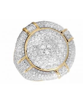 14K Yellow Gold Real Diamond Puff Pillow 3D Round Pinky Ring 5.75 ct