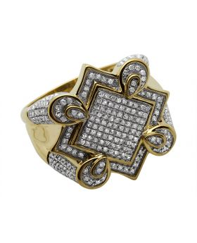 Men's 10K Yellow Gold Diamond Claw Style Ring 1.10ct