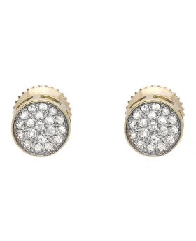 10K Yellow Gold Round Disc Pave Cluster Genuine Diamond 6MM Stud Earrings 0.25ct