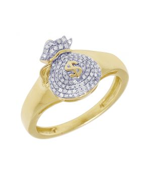 10K Yellow Gold Diamond Money Bag Ring 14MM .25CT