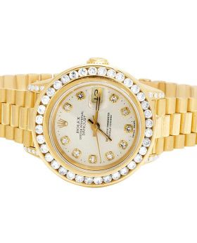 Ladies 18K Yellow Gold 26MM Presidential 69178 Diamond Watch 3.5 Ct