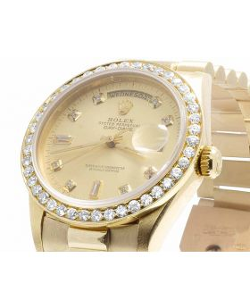 Rolex President 18K Yellow Gold 18038 Day-Date Diamond Watch 3.0 Ct