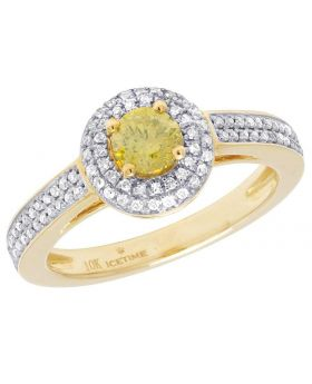 10K Yellow Gold Canary Solitaire Diamond Halo Engagement Ring 1.25 Ct 9MM