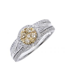 Cluster Bridal Set with Yellow Diamonds (1.0 ct)