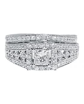 White Gold Princess Solitaire Diamond Engagement Bridal Engraved Ring Set (0.90 ct)