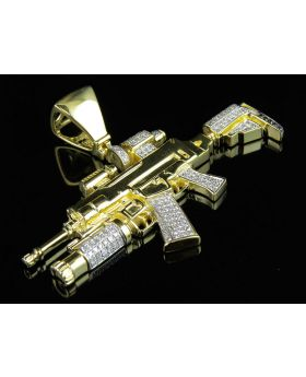Men's 10K Yellow Gold M4-A1 Assault Rifle Diamond Pendant 1.0ct