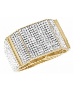 10K Yellow Gold Real Diamond Square Men's Pinky Ring 1.35ct 15MM