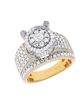 10K Yellow Gold Diamond Cluster Engagement Ring 1.75 Ct 12MM