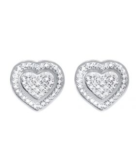 13mm Dual Heart Earrings in White Silver (0.50 ct)