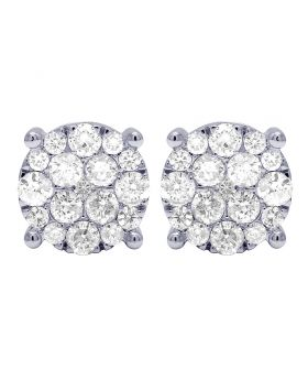 10K White Gold Real Diamond Cluster Flower Earrings 3.5 CT 13MM