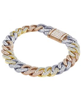 10K Tri-Color Gold Real Diamond Miami Cuban Bracelet 8.6 CT 12MM 8.5""