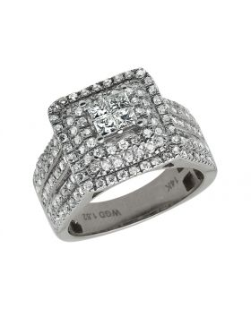14K White Gold Princess Real Diamond XL Engagement Ring 1.52ct
