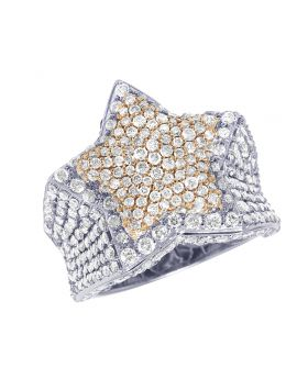 Men's 10K Two-Tone White/Rose Gold Real Diamond 3D Super Star Ring 4.55 CT 24MM Size 10