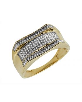 Men's 10K Yellow Gold Curved Pave Diamond Ring 0.25ct