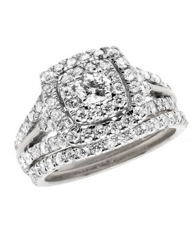 Bridal 14K White  Gold Halo Cluster Ring Set 1.90ct