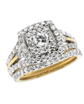 Bridal 14K Yellow Gold Halo Cluster Ring Set 1.90ct