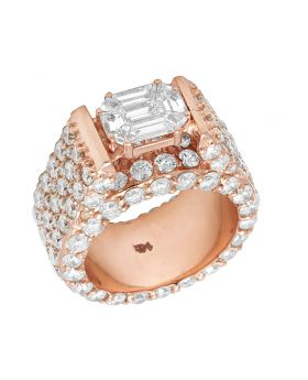 14K Rose Gold Real Diamond Emerald Solitaire Eternity Ring 10 CT