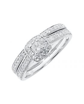 Halo Princess Cut Solitaire Two-piece Bridal Set in 14k (0.51ct)