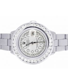 Ladies Rolex Datejust 26MM Silver String Dial Diamond Watch 4.0 Ct