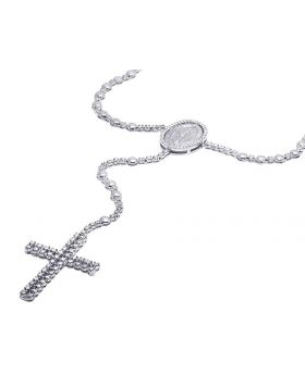 10K White Gold Diamond Rosary Chain 10 CT