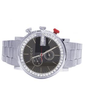 Mens G-Chrono Gucci 44MM Black Dial Diamond Watch YA101361 3.0 Ct