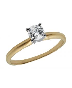 14K Yellow Gold Diamond Solitaire Engagement Ring 0.50ct