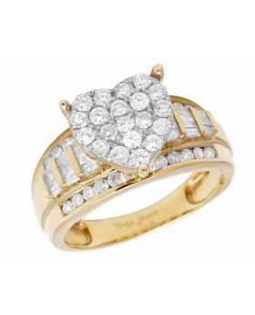 10K Yellow Gold Heart Real Diamond Engagement Ring 1.0ct 10MM