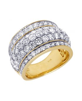 Mens 14K Yellow Gold 5 Row Honey Comb Real Diamond Puff Ring Band 4.60CT