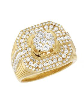 14K Yellow Gold Genuine Diamond Cluster Square Wedding Pinky Ring 2 1/2 CT 20MM