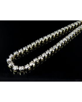 10K Yellow Gold Real Diamond 1 Row Prong Chain Necklace 13.75CT 30""