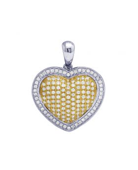 10K Two-Tone Gold Puffed Heart Diamond Pendant Charm .5CT 1""