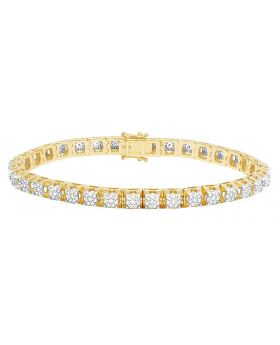 Men's 14K Yellow Gold Diamond 6MM Cluster Tennis Bracelet 5.75 CT 8.5""