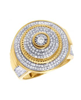 10K Yellow Gold Dome Round Diamond Pinky Ring 1.20 Ct 22MM