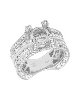 Real 14K White Gold Diamond 3D Semi Mount Engagement Ring 3.40 CT 9MM