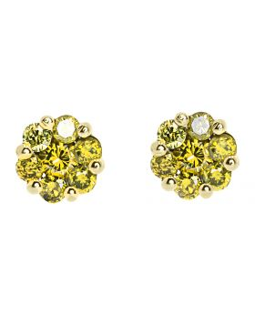 7mm Flower Earrings in Yellow Gold with Canary Diamonds (1.25 ct)