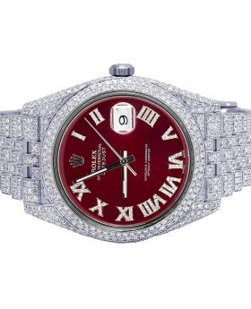 Rolex Datejust II 41MM 126300 Red Dial Diamond Watch 17.75 Ct