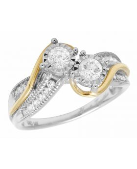 14K Two Tone Real Diamond 2 Stone Ladies Engagement Ring 0.50ct