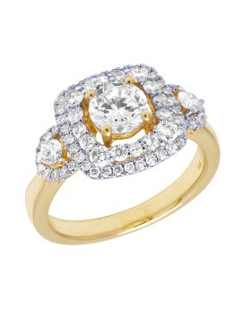 14K Yellow Gold 3 Stone Double Halo Semi Mount Engagement Ring 0.87 CT