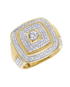 10K Yellow Gold Square Rope Style Diamond Pinky Ring 1.15 Ct 21MM